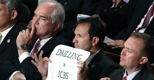 Lawmaker's sign cracks decorum at Obama job speech