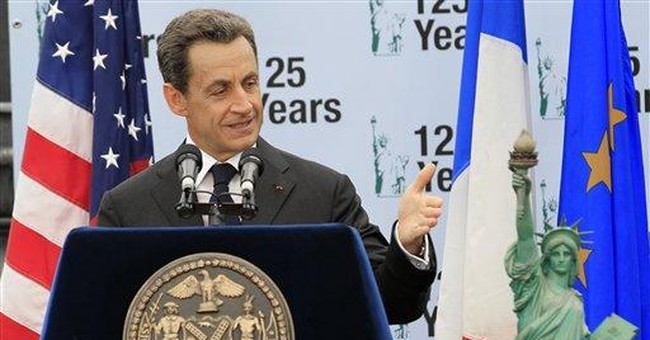 French president visits Statue of Liberty