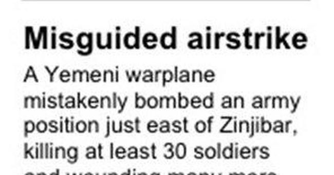 Yemeni jet bombs army post, killing 30 soldiers