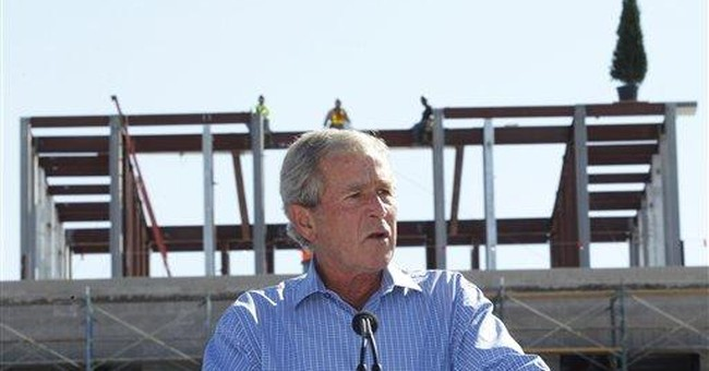 Bush lauds construction of presidential library