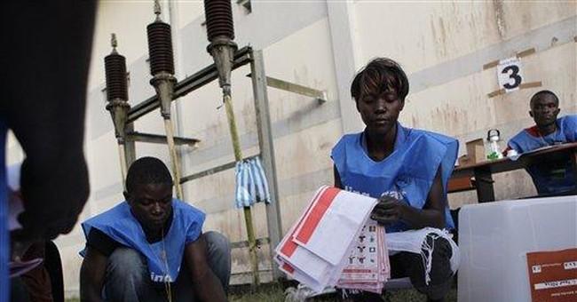 Liberia's Sirleaf has slight edge; runoff likely