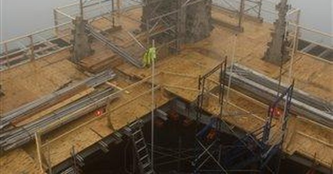 Stonework removed from top of National Cathedral