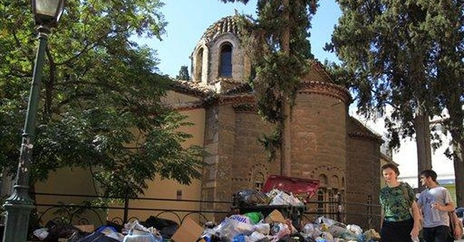 Greek garbage becomes protest tool