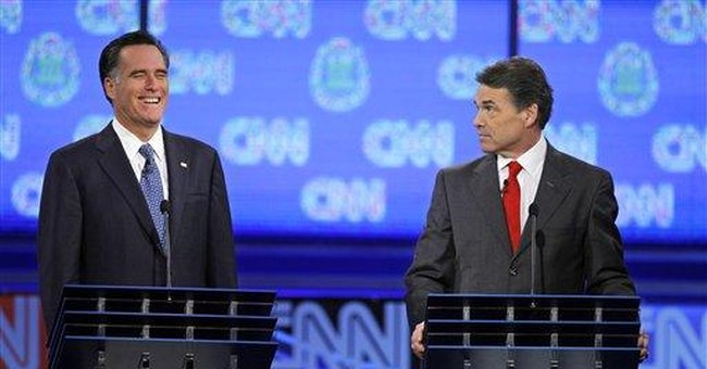 Santorum aggressor against Romney, Perry in debate
