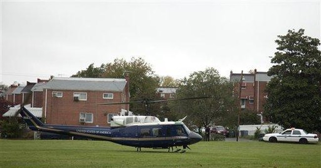 Military helicopter lands in DC park