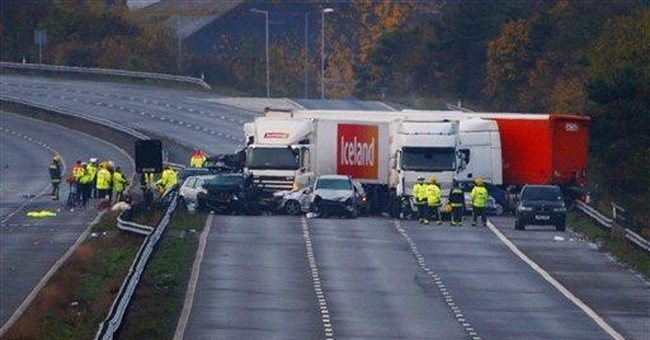 At least 7 killed in 34-car pileup on UK highway