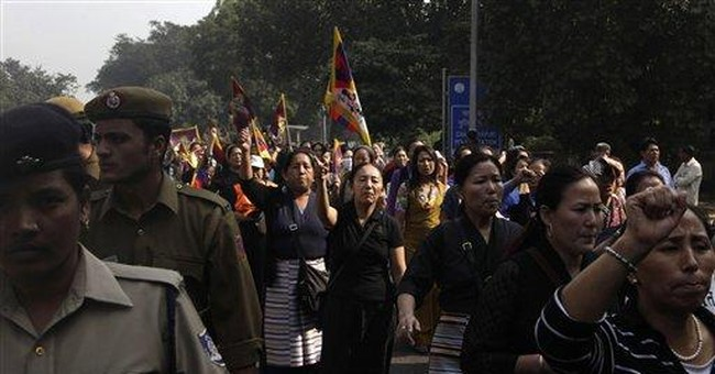 Tibetan exiles hold anti-China protest in India