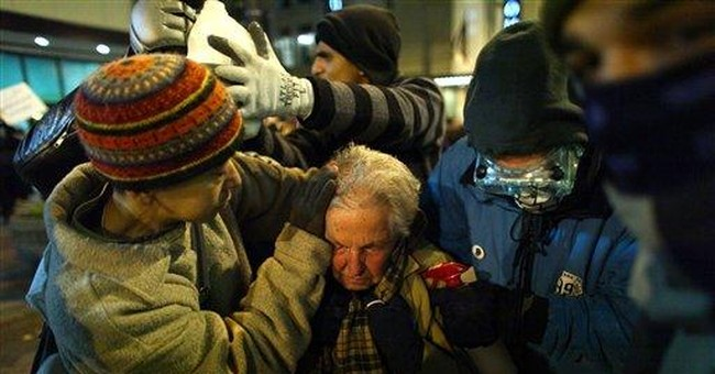 Elderly woman hit by spray at protest: I'm 'tough'