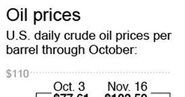 Oil price ends the week below $98 a barrel