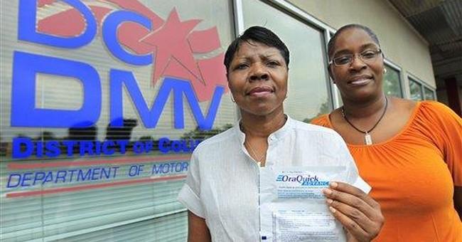 At DC DMV: Driver's license, tag renewal, HIV test