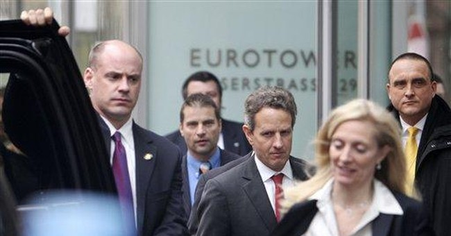 Planes and protests on Geithner's visit to Europe