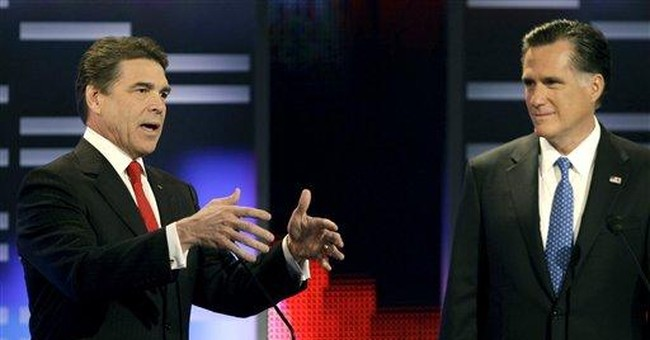 Perry: Romney still backs required health coverage