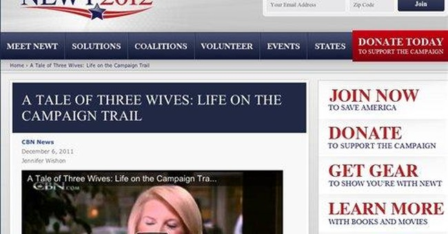 Get me re-write: Gingrich site mentions '3 wives'