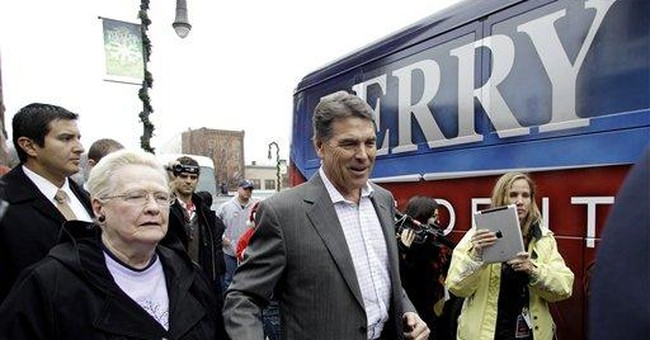 Perry links himself to military, cites record