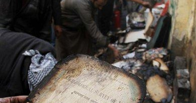Thousands of rare documents burned in Egypt clash