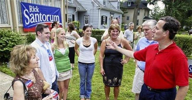 Santorum cites appeal as reliable conservative