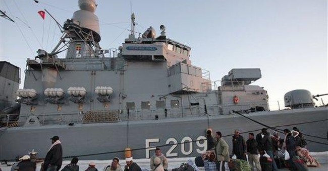 Stranded Egyptians sail home on German warships