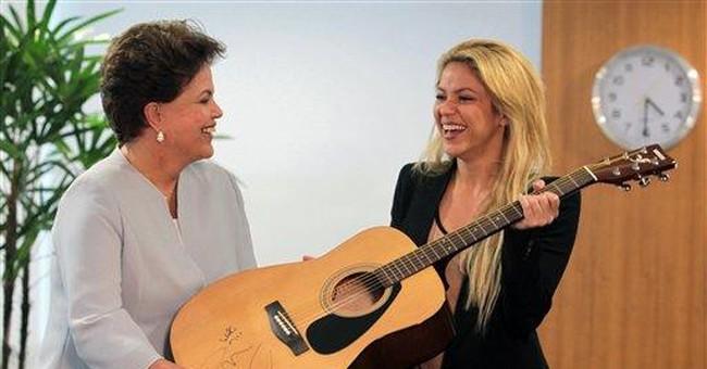 Shakira, Brazilian president pledge to help kids