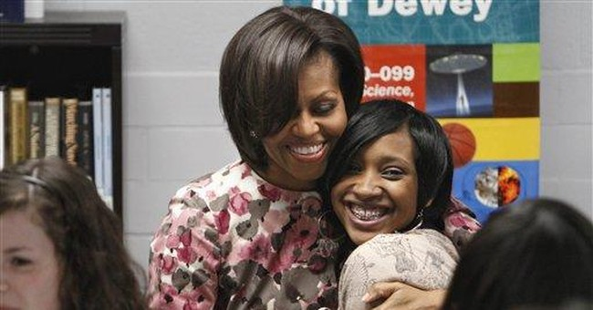 First lady Michelle Obama speaks at DC school