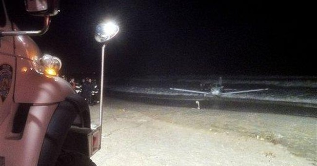 Small plane lands in surf near NYC airport