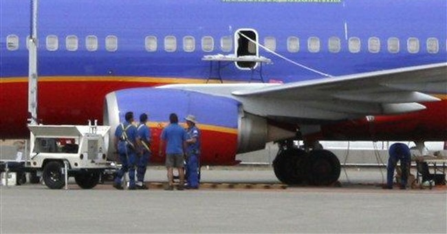 Southwest Airlines patching hole in jet in Ariz.