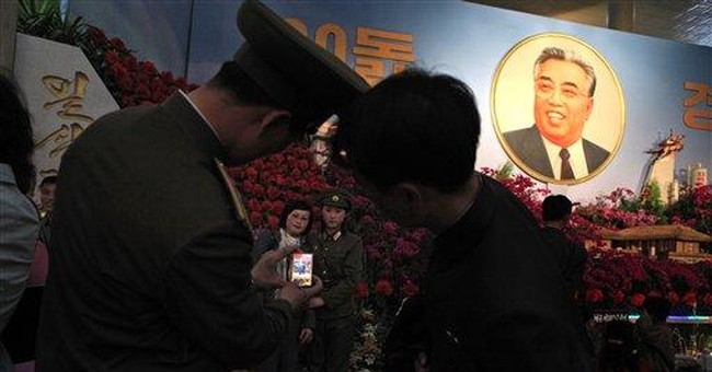 AP PHOTOS: Flower show celebrates N. Korea founder