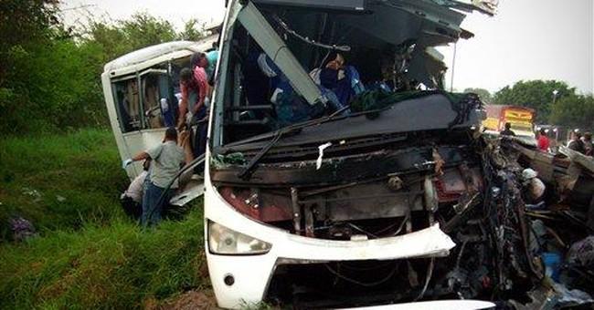 Mexico truck-bus crash kills at least 43