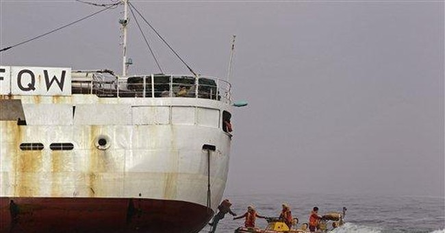 Fishing vessel grounded at popular S. Africa beach