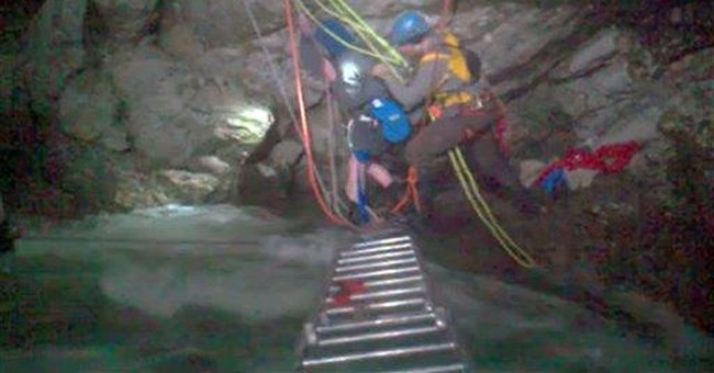 Boy rescued above waterfall not scared _ at first