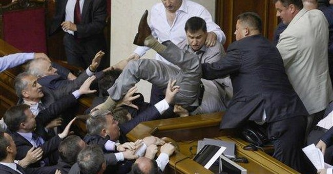 Fists fly in Ukraine over use of Russian