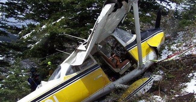 Man says he 'belly-flopped' plane against mountain