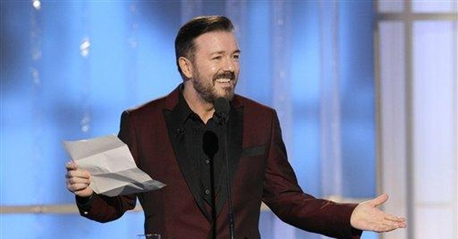 Gervais brings sharp tongue as host of Globes