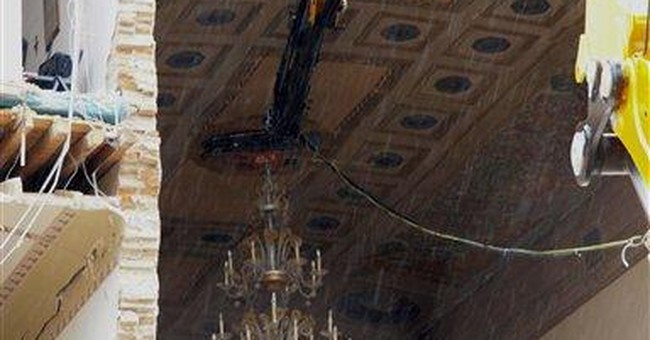 Chandeliers saved from quake-damaged Italian hall