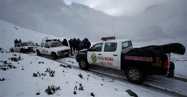 Peru copter search stymied by bad weather