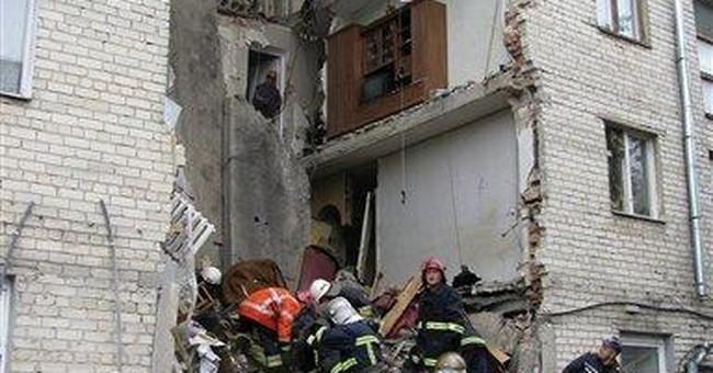 Building partially collapses in Ukraine, 2 dead