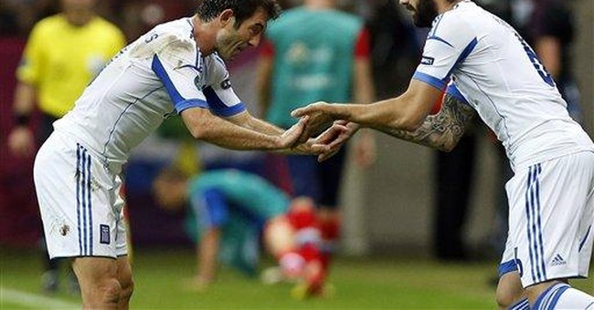 Greeks celebrate country's win over Russia