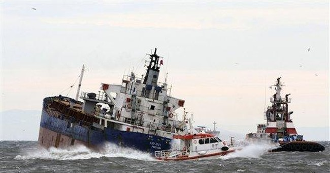Cargo ship damaged after collision off Istanbul