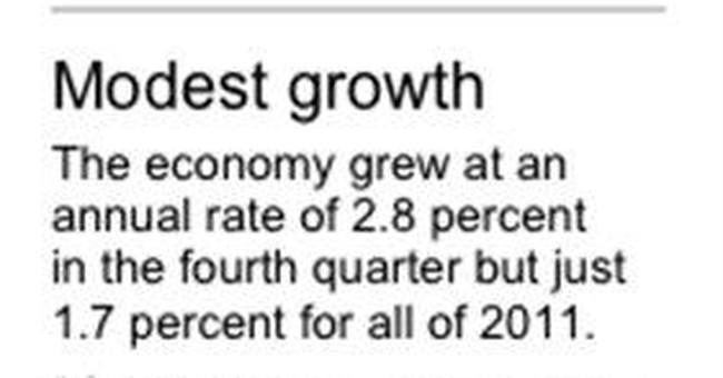 Economy grew modest 2.8 pct. in Q4, best in 2011