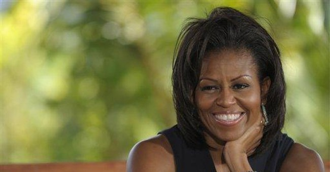 First lady pushes Jay Leno to eat healthy foods