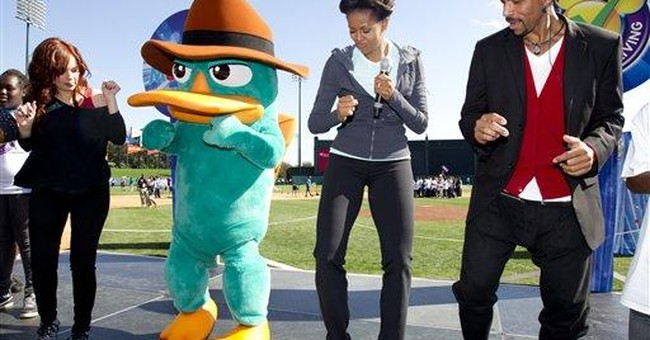 First lady walks 'the platypus walk'