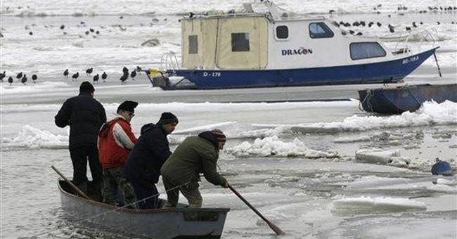 Ship sinks, boats break free as Danube thaws