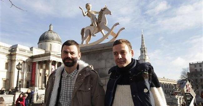 Rocking horse boy unveiled in Trafalgar Square