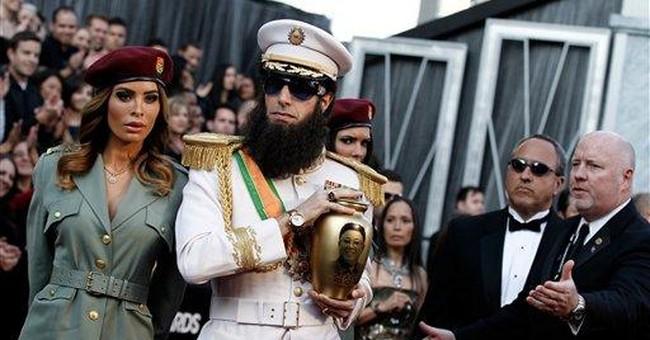 Baron Cohen spills 'ashes' on Seacrest at Oscars