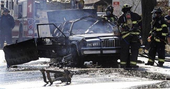 Cigarette, oxygen-tank leak cause NJ car explosion