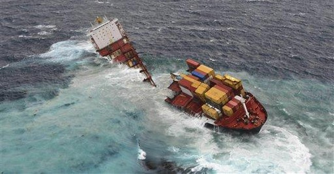 Grounded cargo ship breaks apart on NZ reef