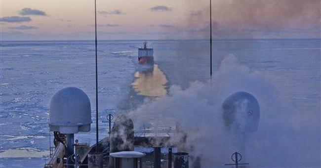 Tanker encounters ice near Bering Sea island