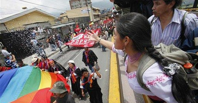 Indians protest in Ecuador against mining projects