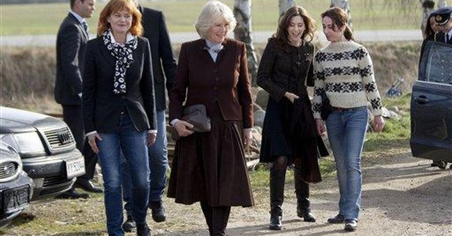 Duchess of Cornwall visits TV set in Denmark