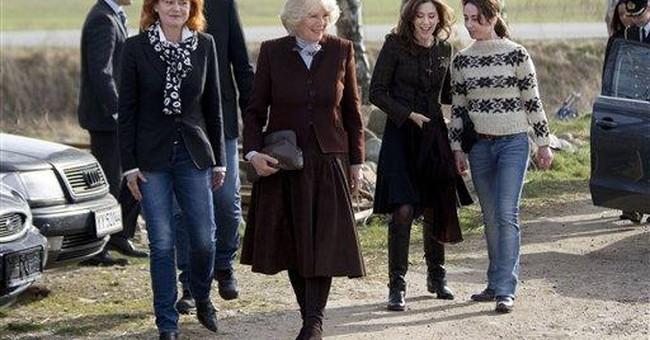 Duchess of Cornwall visits TV set in Denmark
