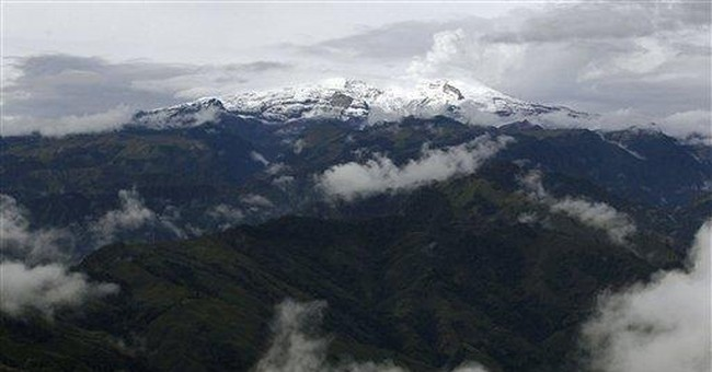 Towering Colombia volcano showing new activity
